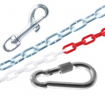 Karabiny, řetězy a obojky
