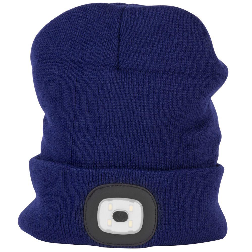 Čepice s LED čelovkou, 60lm, USB nabíjecí, UNI, tmavě modrá, STREND PRO