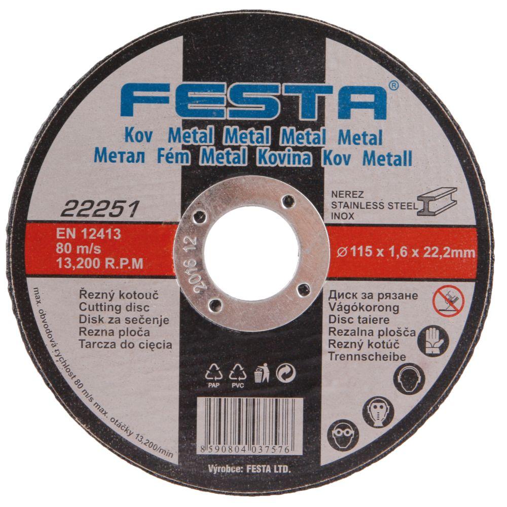 Kotouč řezný na kov, 115 x 1,6mm, 22,2mm, FESTA