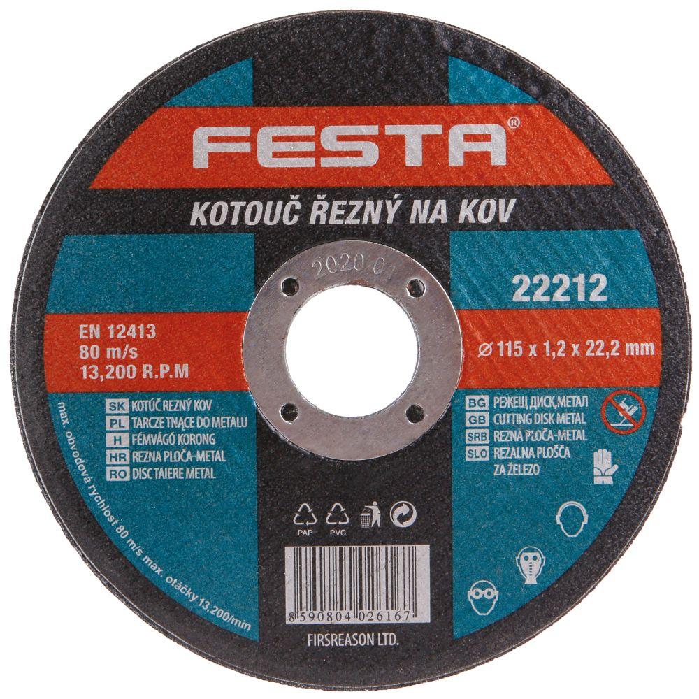 Kotouč řezný na kov, 115 x 1,2mm, 22,2mm, FESTA