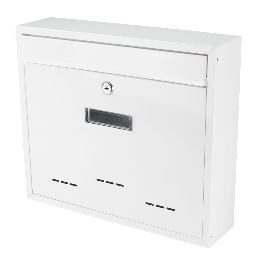 Poštovní schránka, ocel, bílá., 31 x 36cm, RADIM V., SATOS