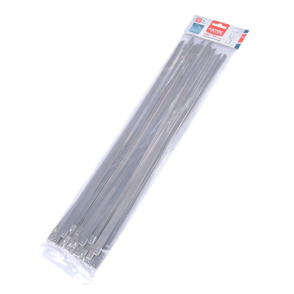 Pásek stahovací NEREZ, 450 x 7,9mm, balení 50ks, EXTOL PREMIUM