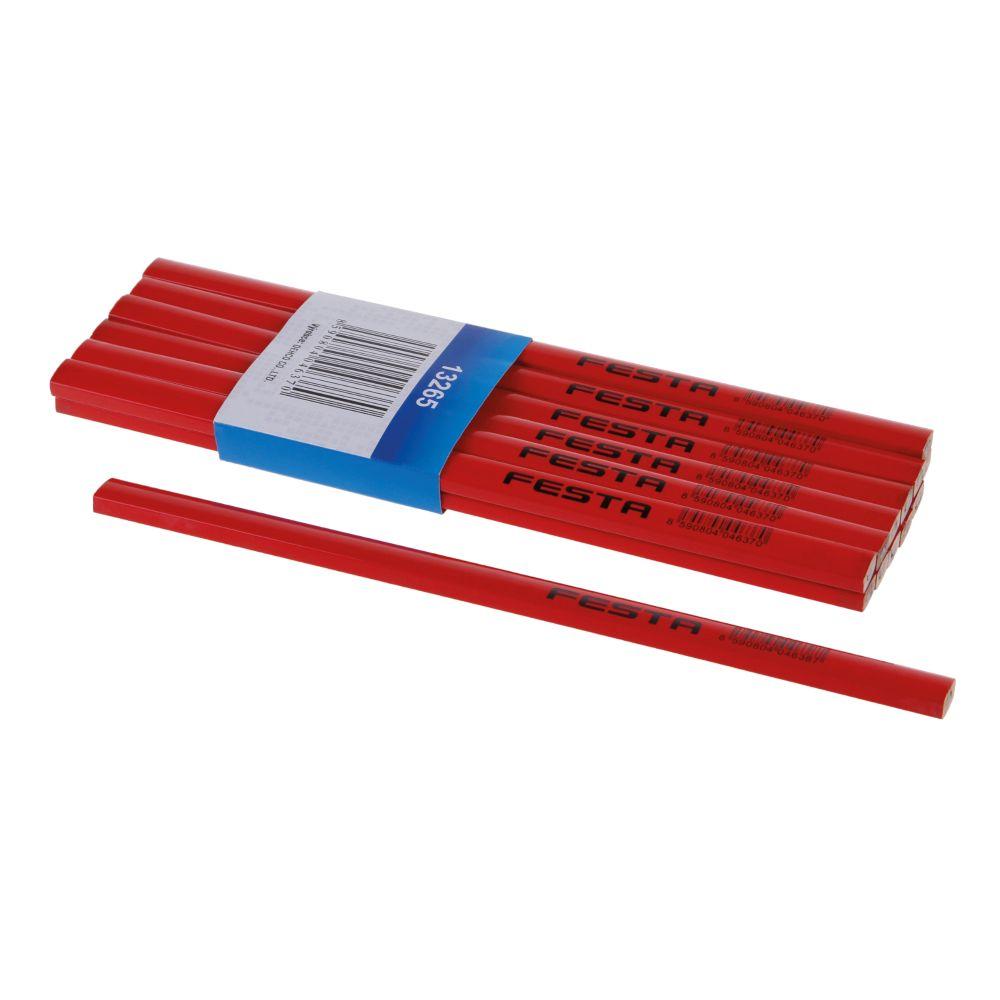 Tužka tesařská HB, 250mm, červený lak, FESTA