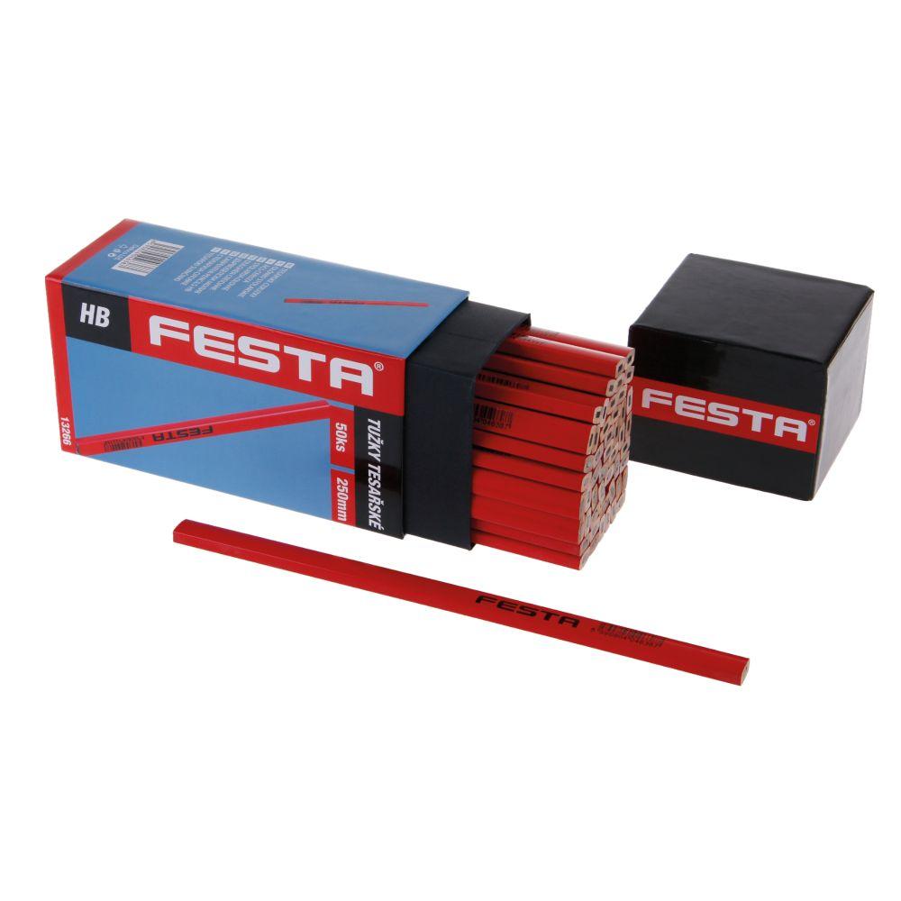Tužka tesařská HB, 250mm, červený lak, sada 50ks, FESTA