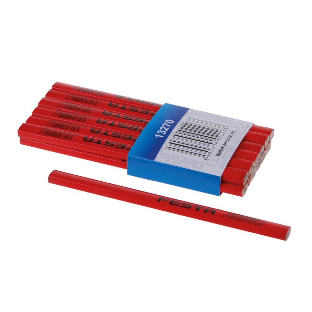 Tužka tesařská HB, 180mm, červený lak, FESTA