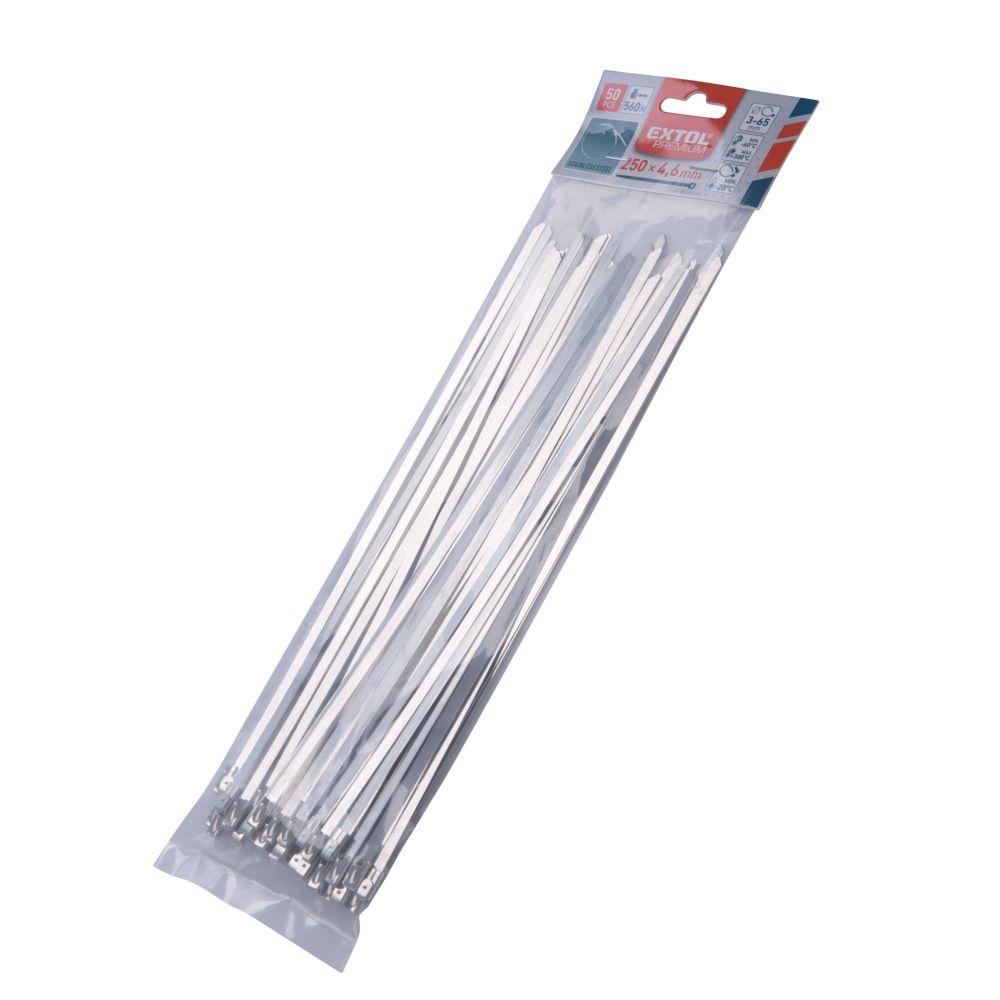 Pásek stahovací NEREZ, 250 x 4,6mm, balení 50ks, EXTOL PREMIUM