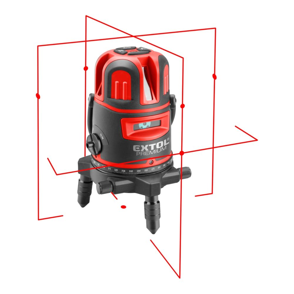 Laser liniový, křížový samonivelační, červený, 1H4V6D, EXTOL PREMIUM