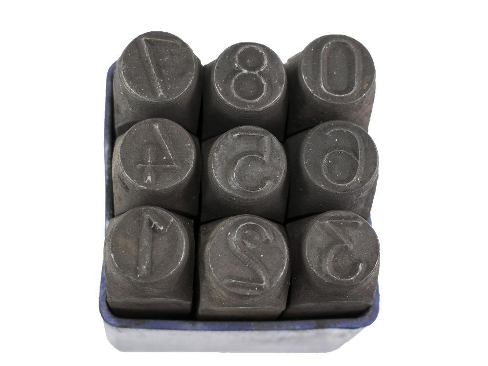 Raznice ocelové 12mm, znaky čísla
