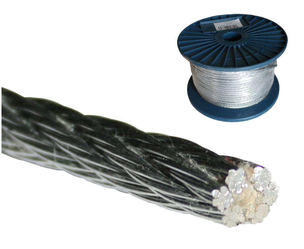 Ocelové lanko (6x7+FC), ZN, pr. 8,0mm, cívka 75m