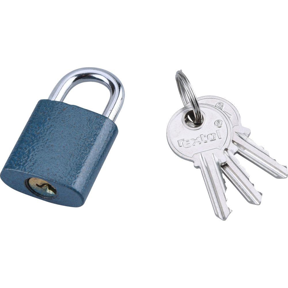 Zámek visací, litinový, 25mm, modrý, 3 klíče, FESTA