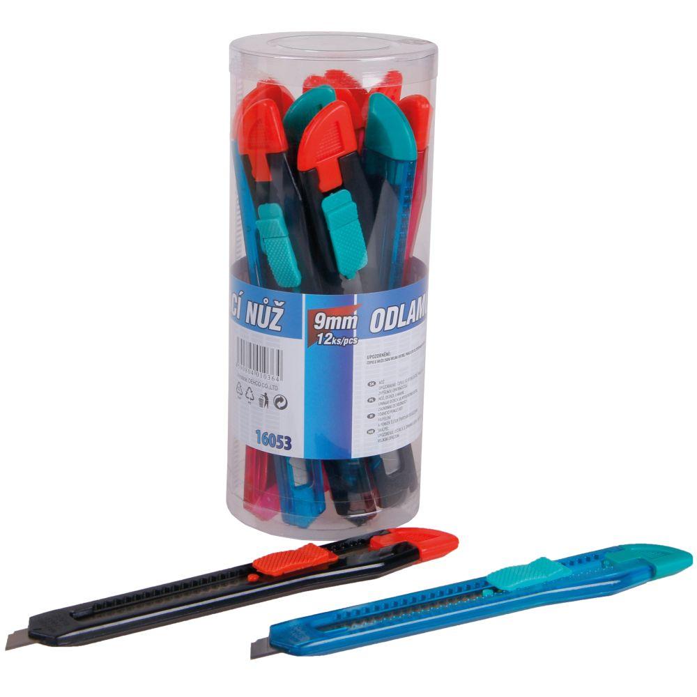 Nůž ulamovací - dóza (12ks), 9mm, plast, brzda