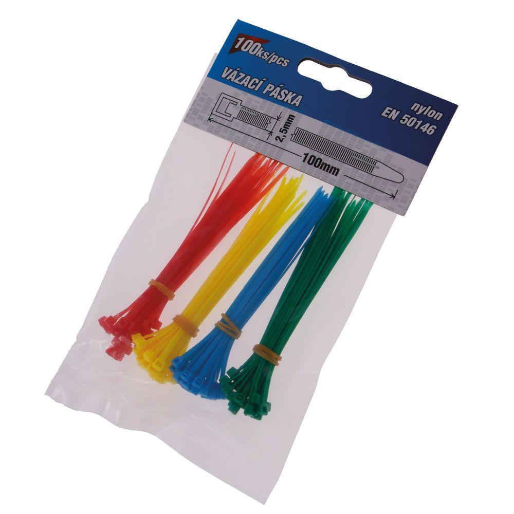 Pásek stahovací, 100 x 2,5mm, nylon, různé barvy, balení 100ks