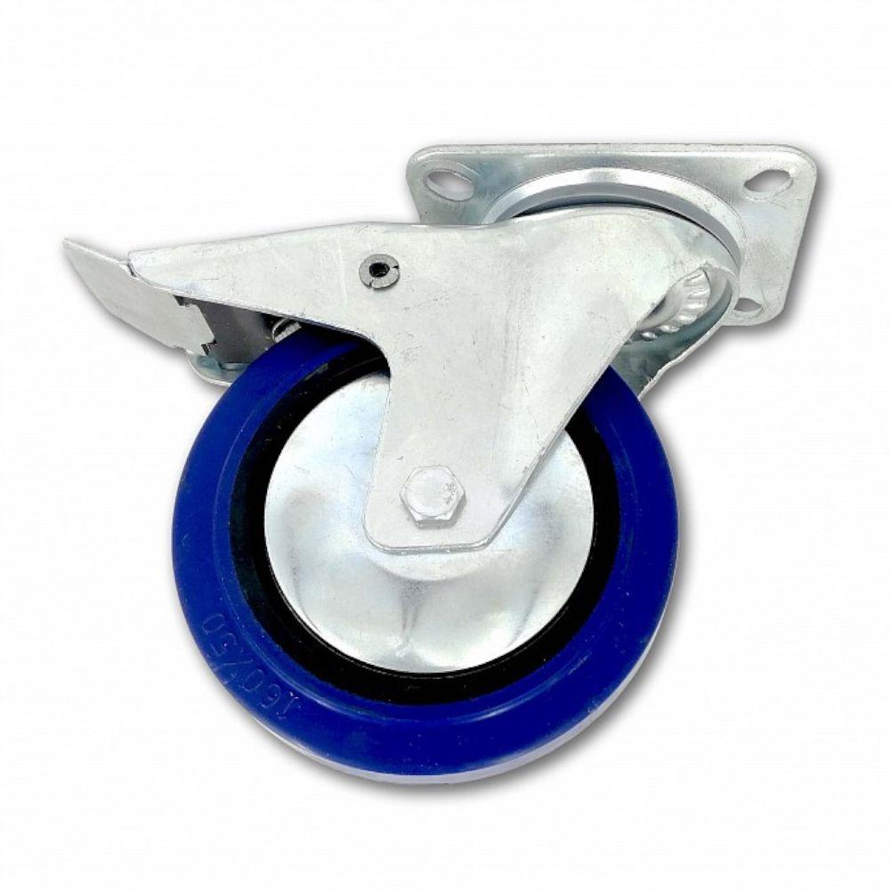 Kolečko pojezdové, 160mm, otočné+brzda, tvrdá pryž-modrá, 250kg