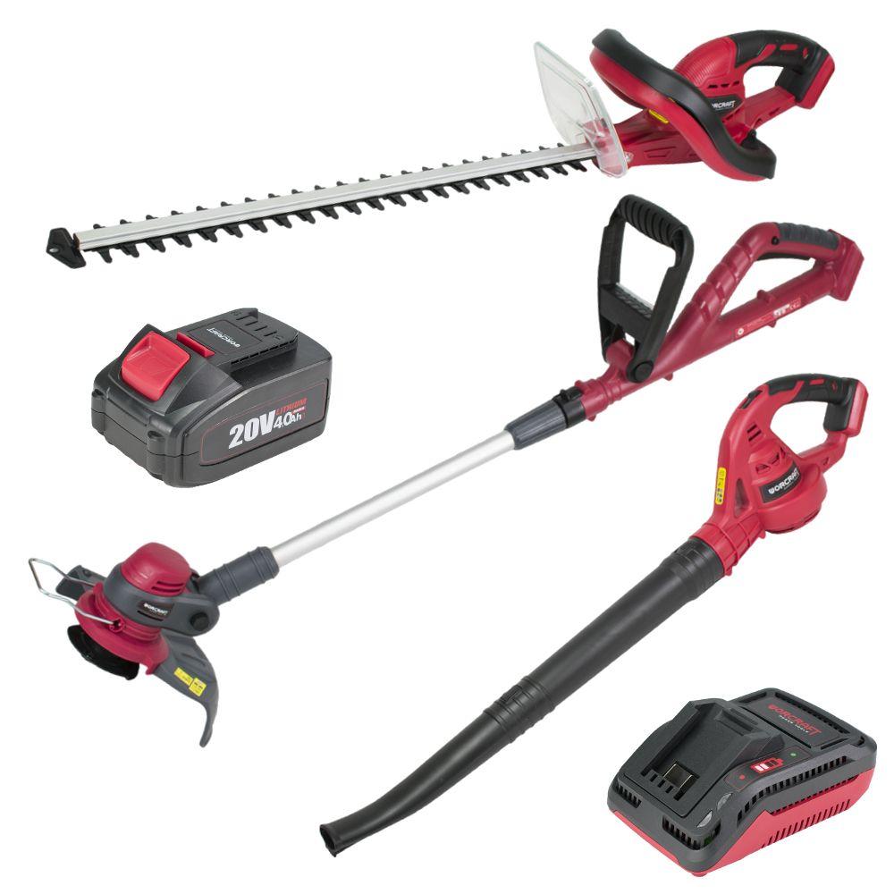 AKU set, sekačka, nůžky na plot, fukar, 1 x baterie, nabíječka, WORCRAFT