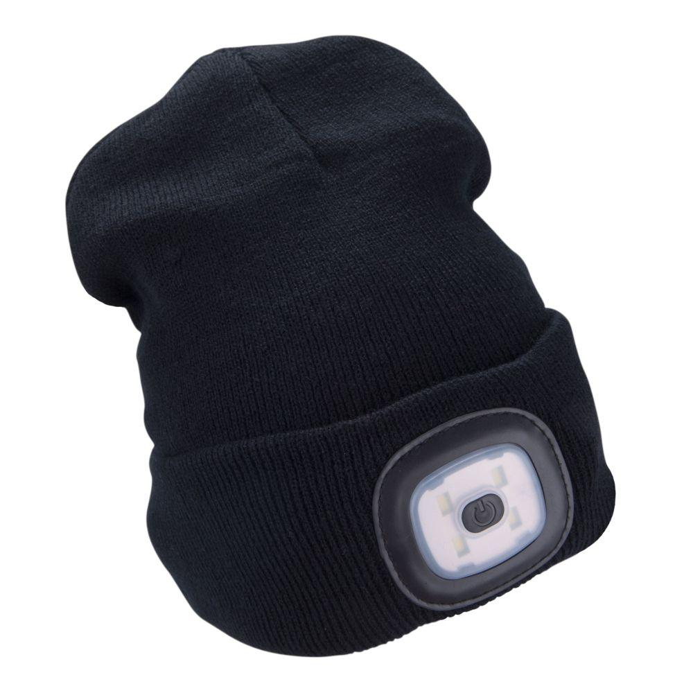 Čepice s LED čelovkou, 4x45lm, USB nabíjecí, UNI, černá, EXTOL LIGHT