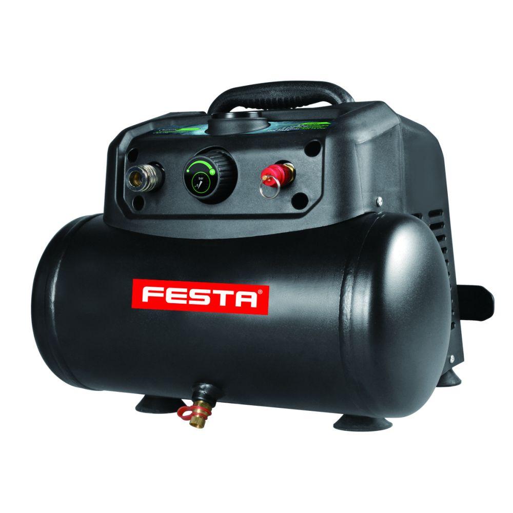 Kompresor bezolejový, 1200W, nádoba 6l, FESTA
