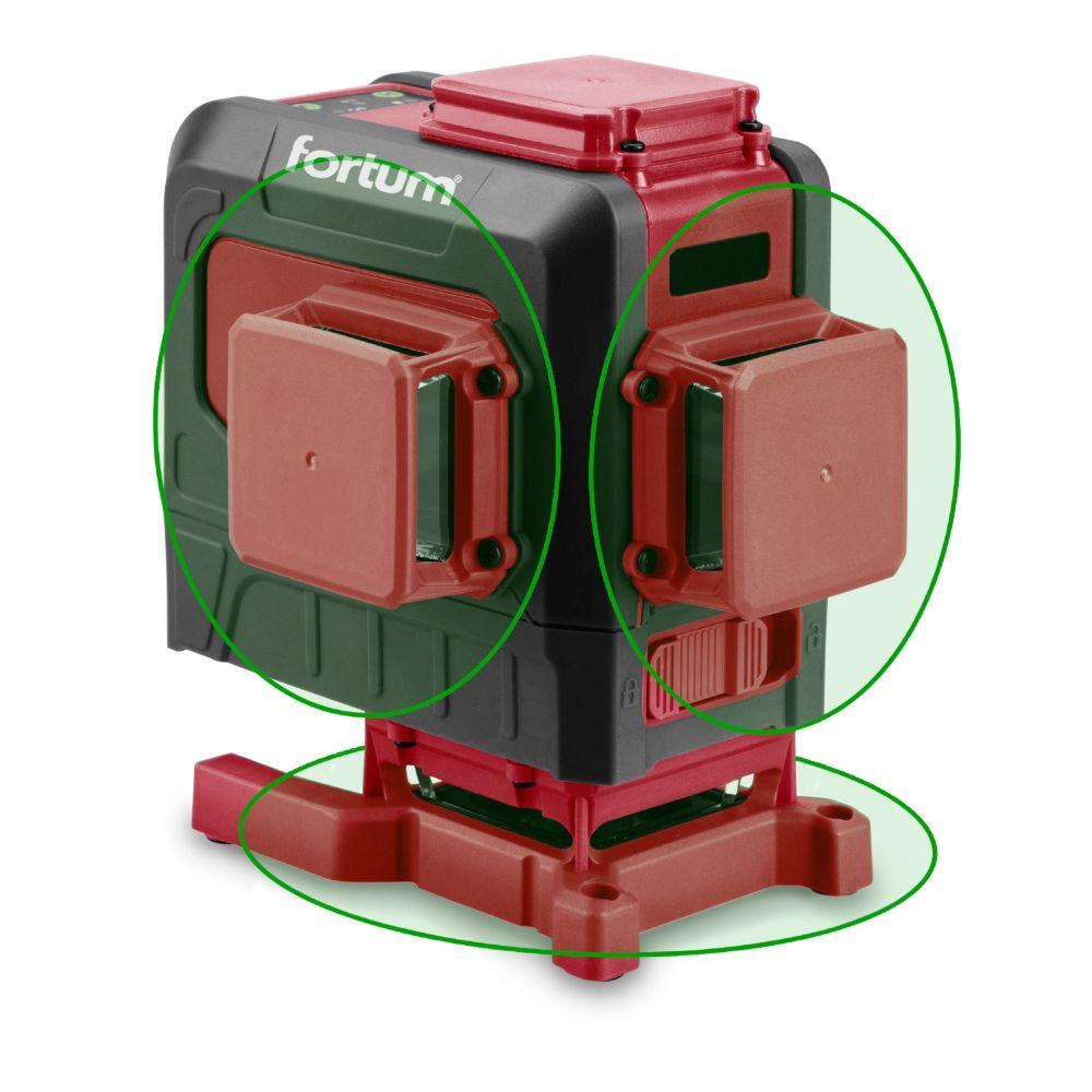 Laser liniový 360°, křížový samonivelační, zelený, 3D, FORTUM