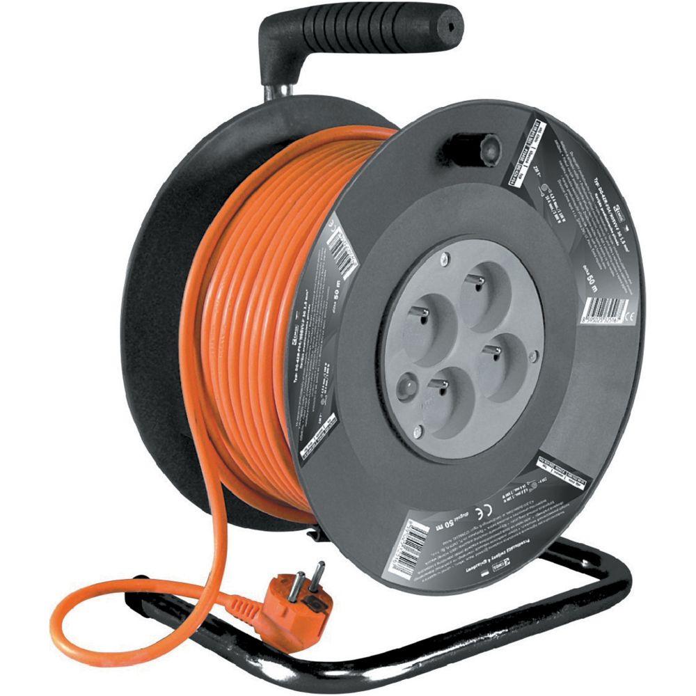 Prodlužovací kabel na bubnu, délka 50m, 4 zás., 3x1,5mm, oranž., SOLIGHT