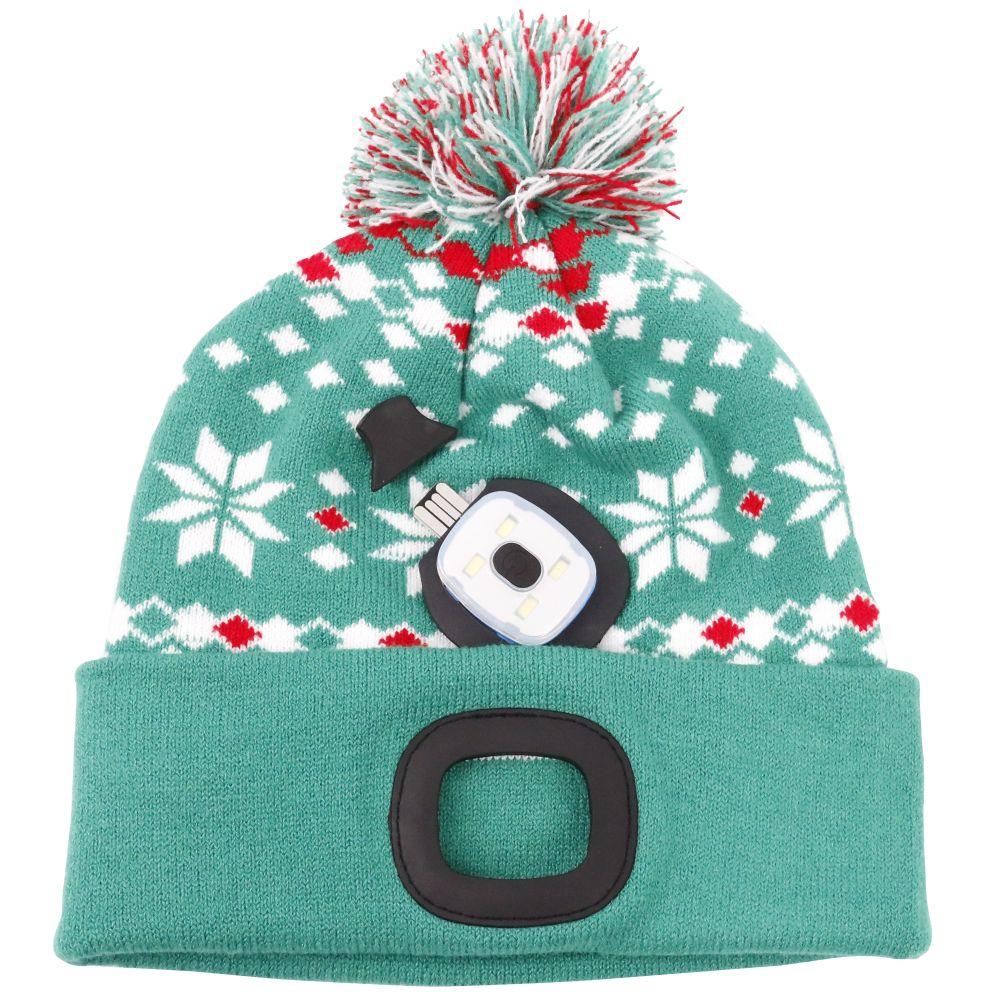 Čepice s LED čelovkou, 60lm, USB nabíjecí, UNI, Xmas zelená, STREND PRO