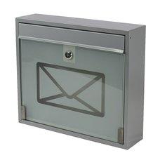 Poštovní schránka, ocel+sklo, šedá, 31 x 36cm, KVIDO, SATOS