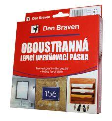 Oboustranně lepicí upevňovací páska, 15mm x 5m, síla 1mm, DEN BRAVEN