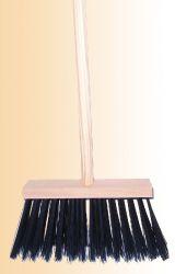 Koště průmyslové s násadou dřevěné, rozměr 25x6cm, vlákno PVC černé
