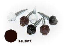 Šroub střešní samovrtný s EPDM podložkou, rozměr 4,8 x 35mm, barva RAL 8017, balení 200ks