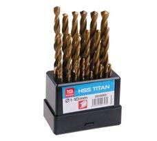 Vrtáky do kovu, sada 19ks, pr. 1 - 10mm, HSS TiN