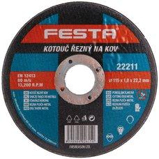 Kotouč řezný na kov, 115 x 1,0mm, 22,2mm, FESTA