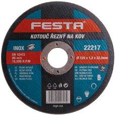 Kotouč řezný na kov, 125 x 1,2mm, 22,2mm, FESTA