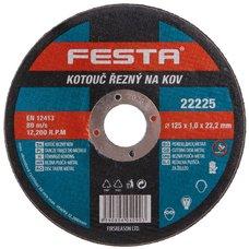 Kotouč řezný na kov, 125 x 1,0mm, 22,2mm, FESTA