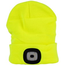 Čepice s LED čelovkou, 60lm, USB nabíjecí, UNI, fluorescenční žlutá, STREND PRO