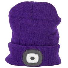 Čepice s LED čelovkou, 60lm, USB nabíjecí, UNI, fialová, STREND PRO
