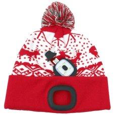 Čepice s LED čelovkou, 60lm, USB nabíjecí, UNI, Xmas červená, STREND PRO