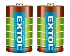 Baterie alkalická, 1,5V, D (LR20), sada 2ks, EXTOL ENERGY ULTRA+