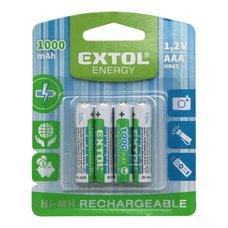 Baterie nabíjecí Ni-MH, 1,2V, AAA (HR03), 1000mAh, sada 4ks, EXTOL ENERGY