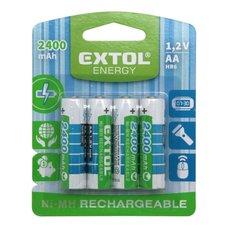 Baterie nabíjecí Ni-MH, 1,2V, AA (HR6), 2400mAh, sada 4ks, EXTOL ENERGY