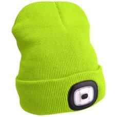 Čepice s LED čelovkou, 4x45lm, USB nabíjecí, UNI, fluorescentní žlutá, EXTOL LIGHT