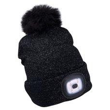 Čepice s LED čelovkou, 4x45lm, USB nabíjecí, UNI, černá se třpytkou a bambulí, EXTOL LIGHT