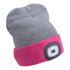 Čepice s LED čelovkou, 4x45lm, USB nabíjecí, UNI, šedá/růžová, EXTOL LIGHT