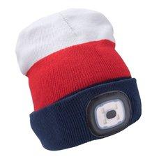 Čepice s LED čelovkou, 4x45lm, USB nabíjecí, UNI, bílá/červená/modrá, EXTOL LIGHT