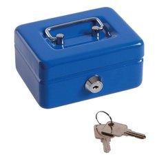 Pokladna kovová, 125x95x60mm, modrá
