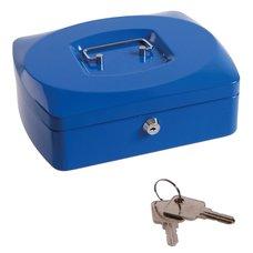 Pokladna kovová, 250x180x90mm, modrá