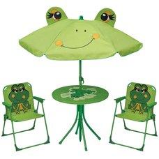 Set dětský, stůl+slunečník+2 stoličky, žába, LEQ MELISENDA, STREND PRO