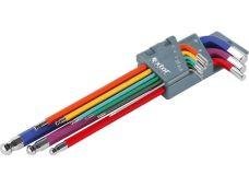 Klíče IMBUS s kuličkou, prodloužené barevné, sada 9ks, 1,5 - 10mm, EXTOL PREMIUM