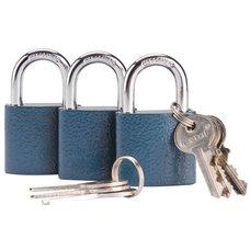 Zámky visací sjednocené, litinové, 38mm, modré, sada 3 ks, 6 klíčů, EXTOL CRAFT