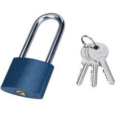 Zámek visací prodloužený, litinový, 52mm, modrý, 3 klíče, EXTOL CRAFT