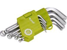 Klíče IMBUS s kuličkou, krátké, sada 9 ks, 1,5 - 10mm, EXTOL CRAFT