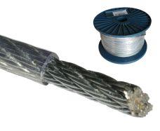 Ocelové lanko potažené (6x7+FC), ZN + PVC, pr. 3 / 4mm, cívka 100m