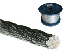 Ocelové lanko (6x7+FC), ZN, pr. 6,0mm, cívka 75m